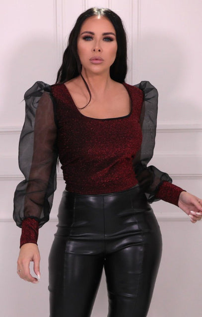 Red Glitter Metallic Mesh Sleeve Crop Top - Lucia