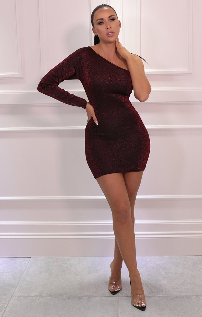 Red Glitter One Shoulder Bodycon Mini Dress - Mariah