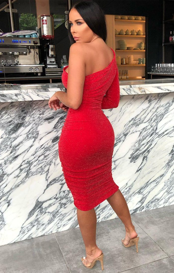 Red Glitter One Shoulder Midi Dress - Mabel