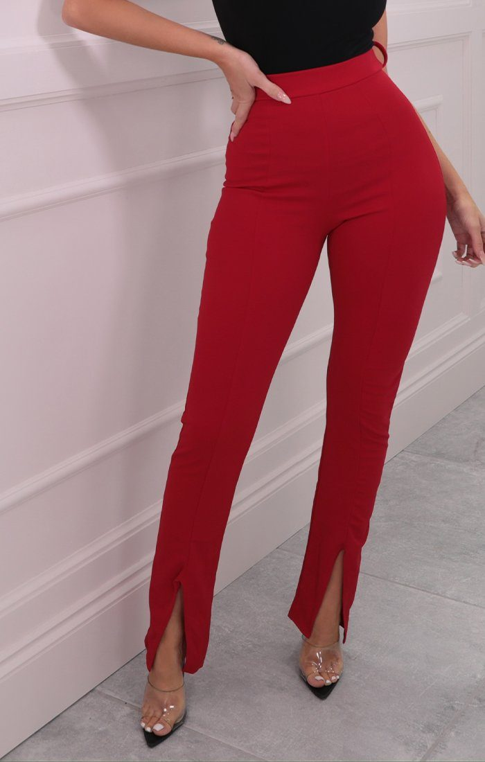 Red High Waisted Flare Slit Leg Trousers - Issa