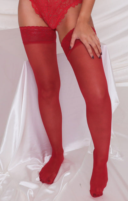 Red Lace Hold Up Stockings - Casey