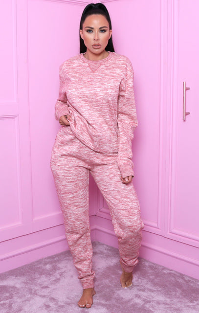 Red Marl Crew Neck Loungewear Set - Danica