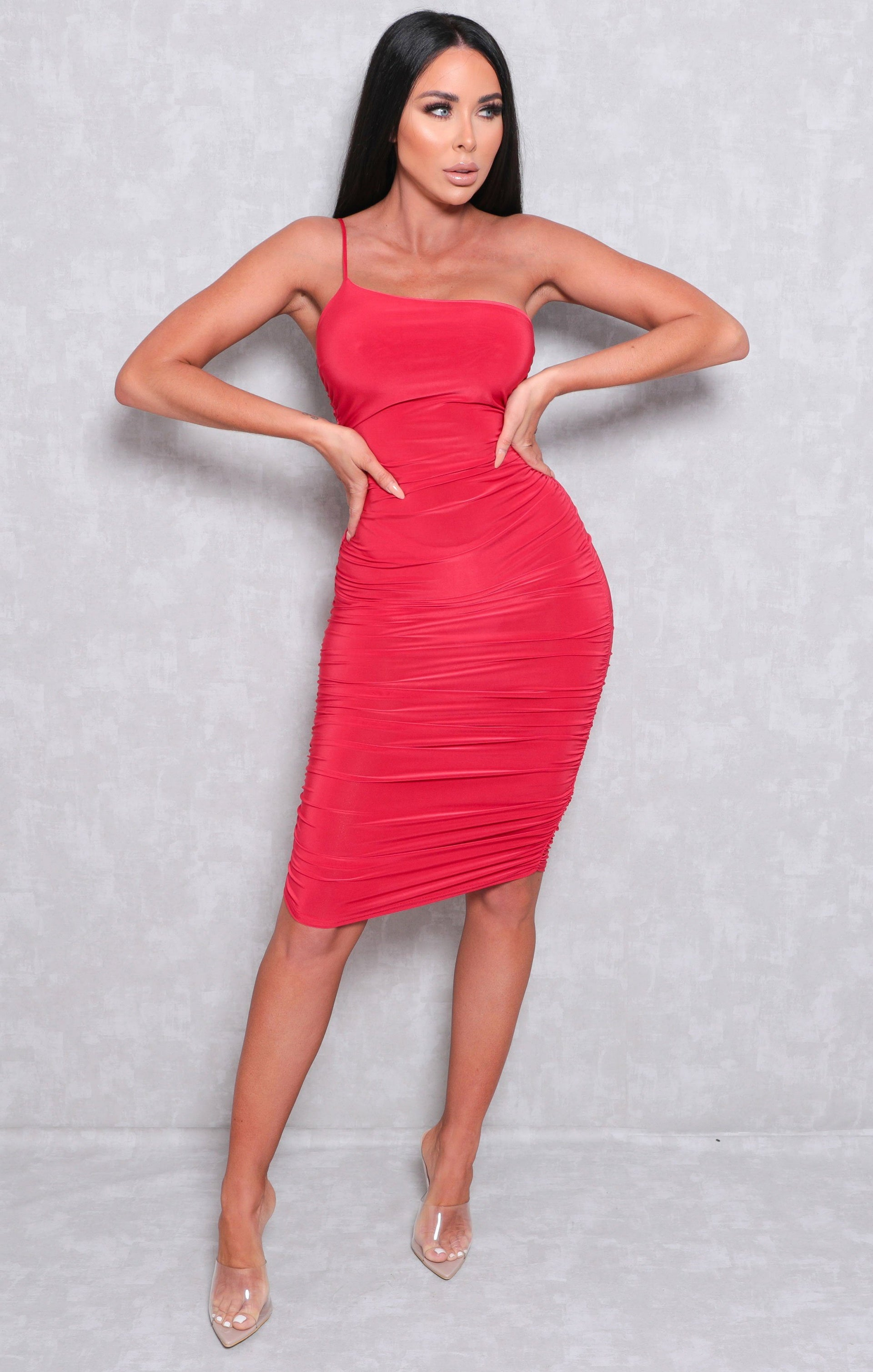 Red One Shoulder Ruched Slinky Bodycon Mini Dress - Daisy