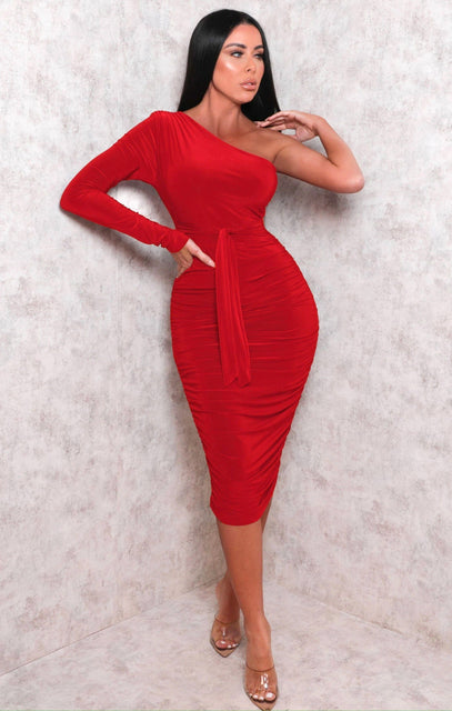 Red One Shoulder Ruched Slinky Midi Dress - Savannah