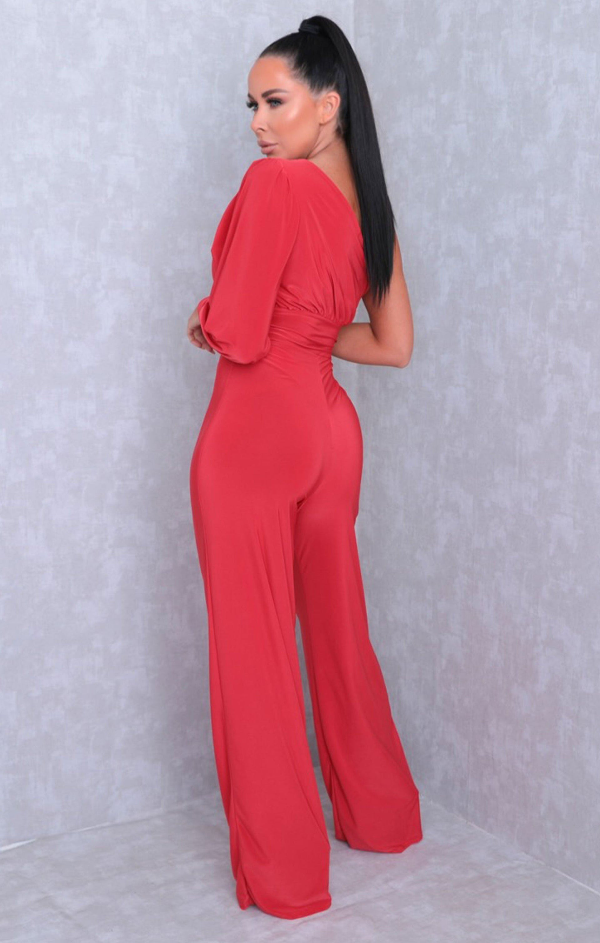Red One Shoulder Straight Leg Slinky Jumpsuit - Poppy