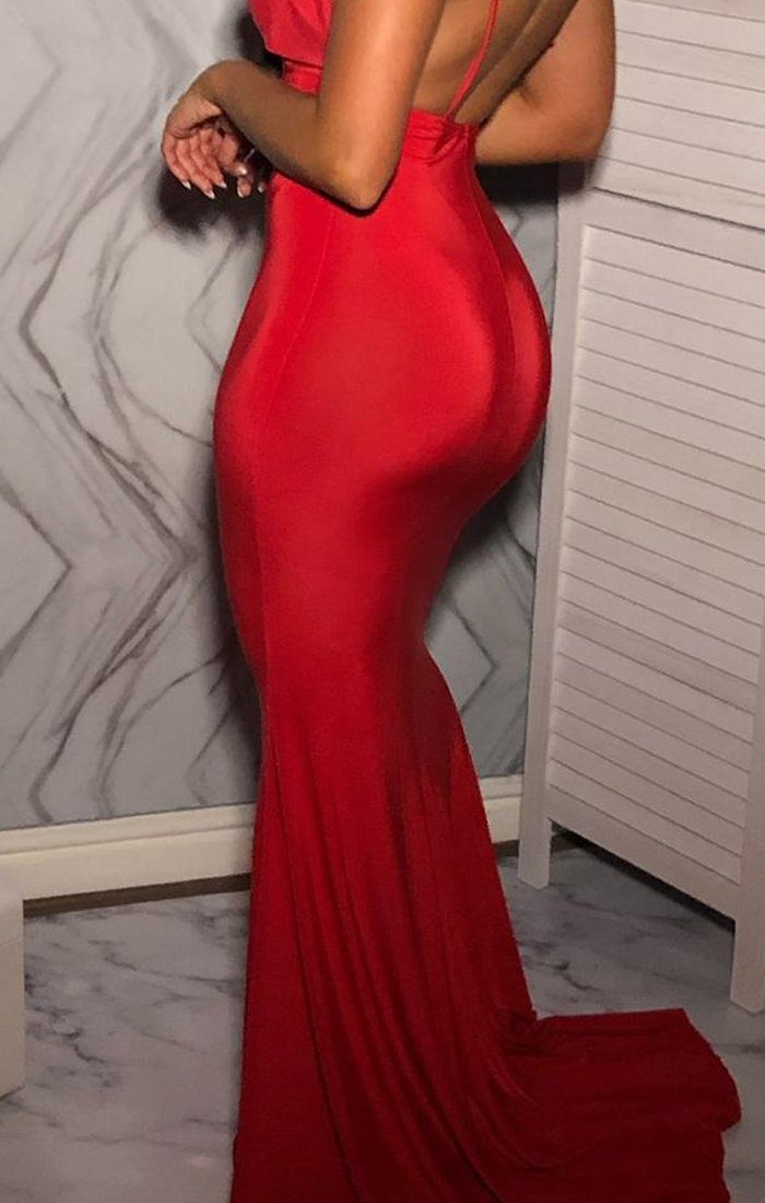 Red Plunge Crossover Back Maxi Dress - Nancy