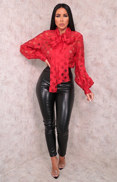 Red Polka Dot Organza Tie Collar Top - Izzy