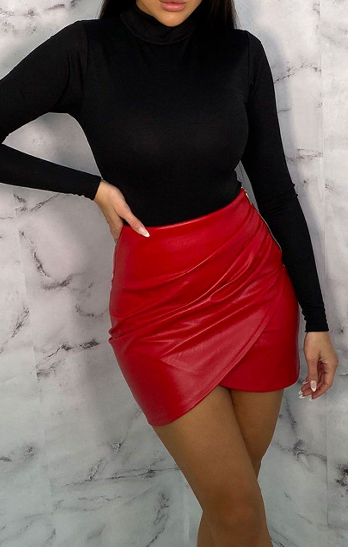 Red PU Wrap Ruched Mini Skirt - Bethany