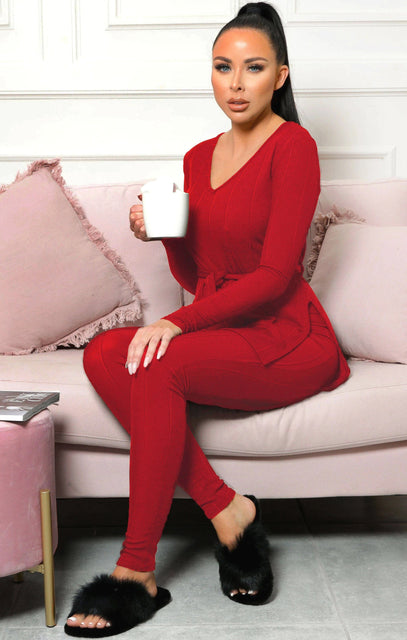 Red Ribbed Belted Loungewear Set - Leah