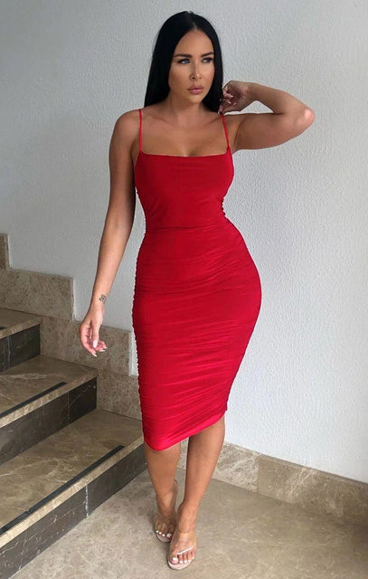 Red Ruched Midi Bodycon Dress - Taylor