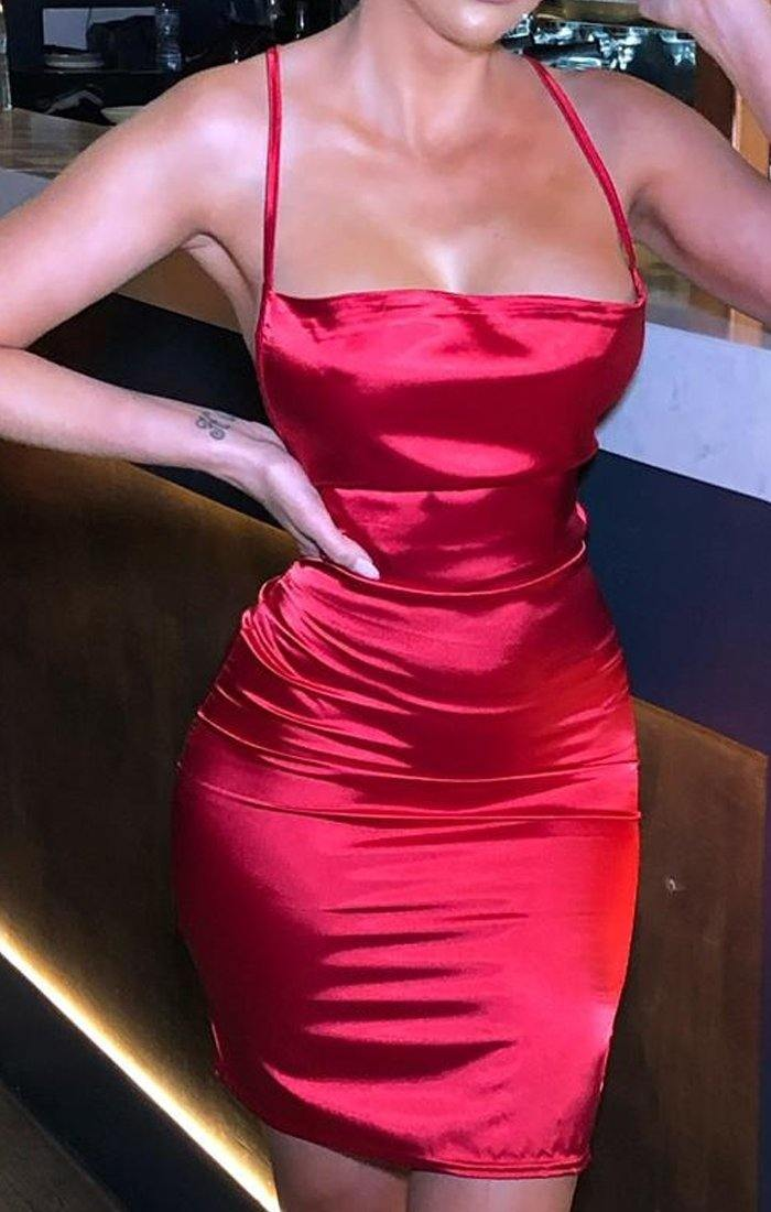 Red Satin Cross Back Mini Dress - Tessa