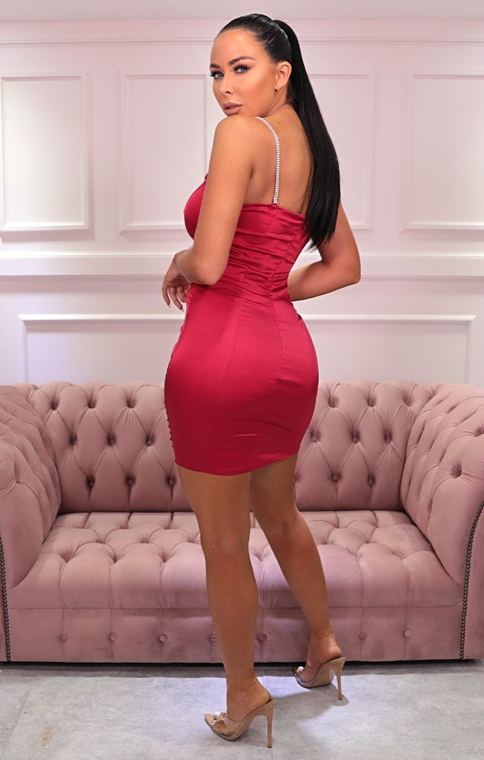Red Satin Diamante Strap Bodycon Mini Dress - Naomi