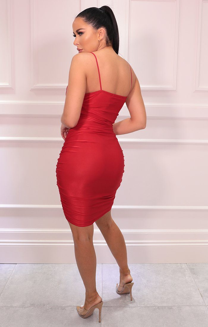 Red Slinky Ruched Strappy Bodycon Midi Dress - Kady