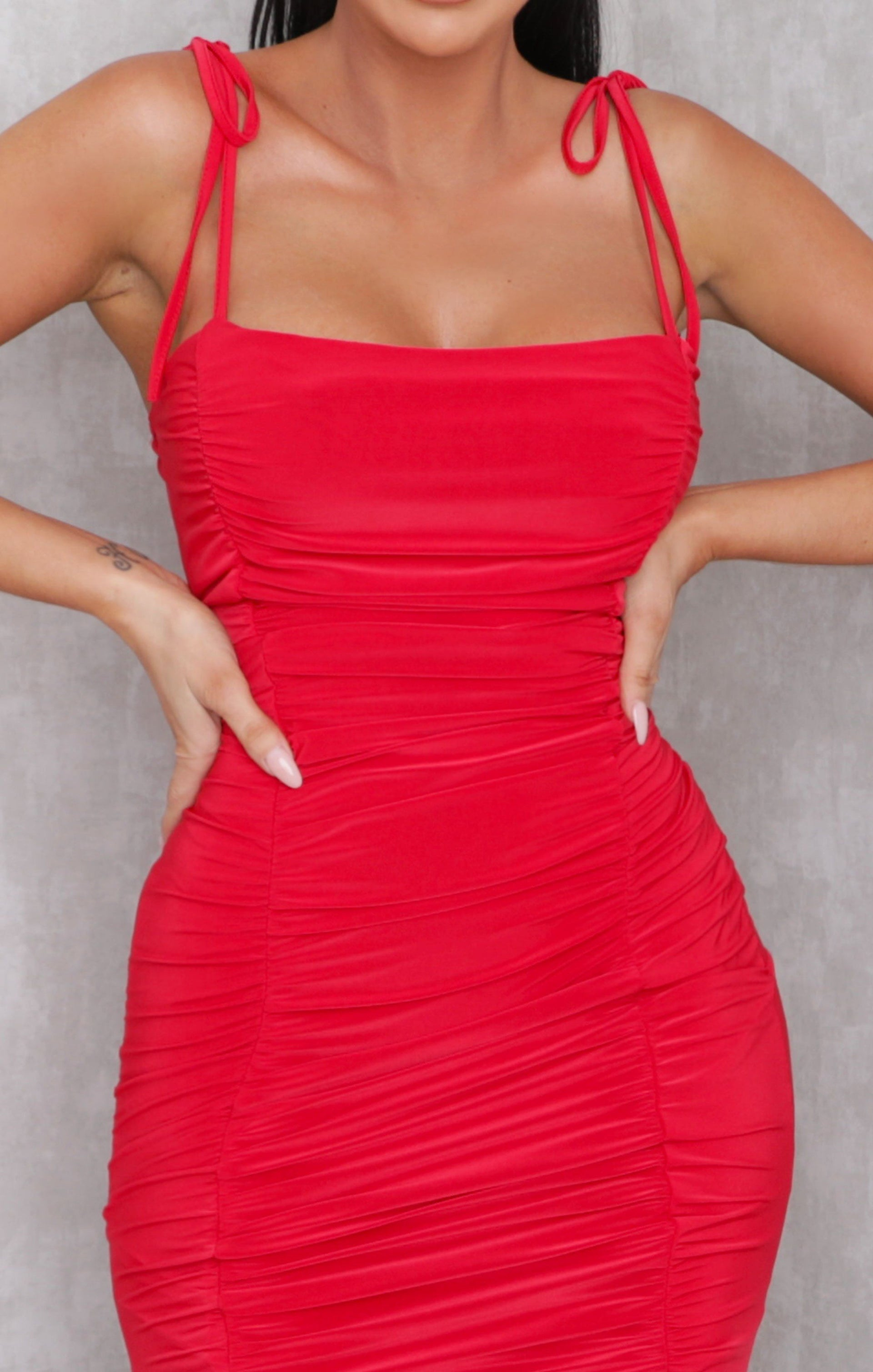 Red Slinky Ruched Strappy Bodycon Mini Dress - Kristen
