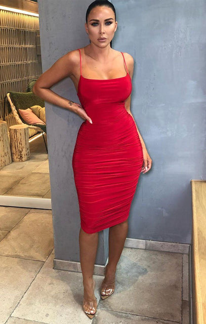 Red Slinky Ruched Thin Strap Midi Dress - Vienna