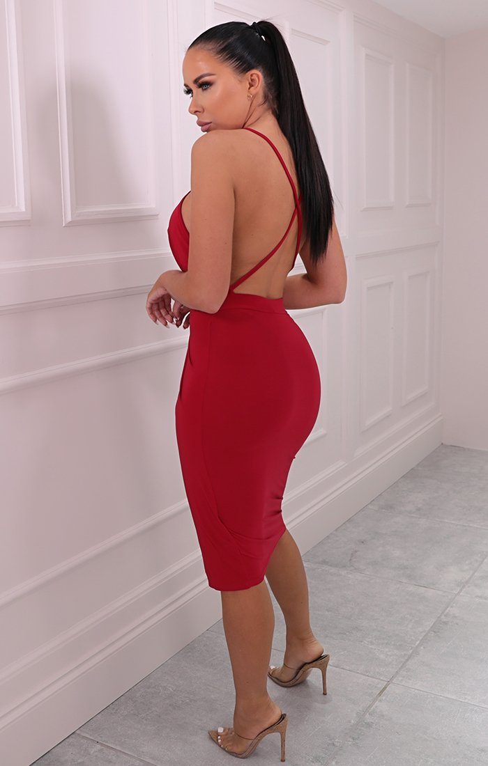Red Slinky Wrap Halter Neck Dress - Floriana
