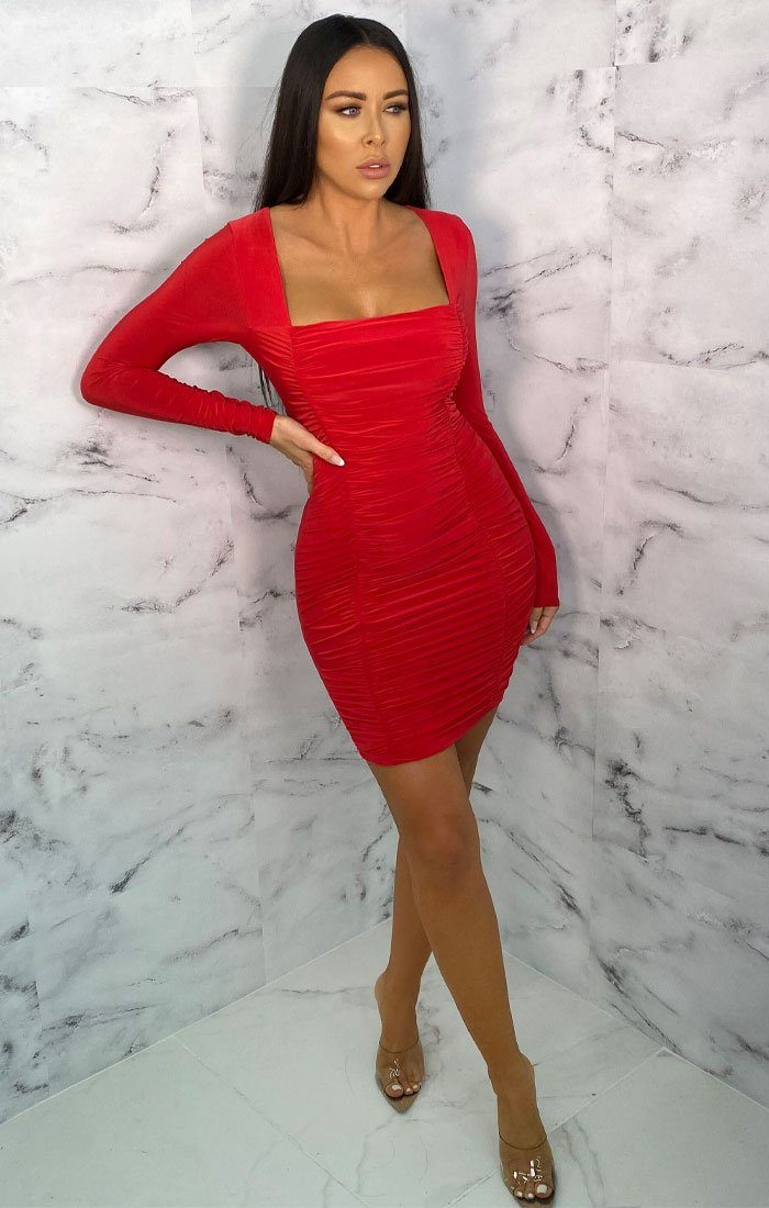 Red Square Neck Ruched Bodycon Mini Dress - Gina