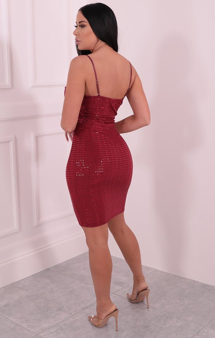 Red Square Sequin Strappy Bodycon Mini Dress - Chrissy