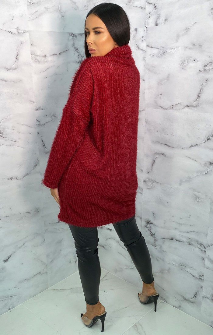 Red Turtleneck Oversized Fluffy Long Line Jumper - Mary