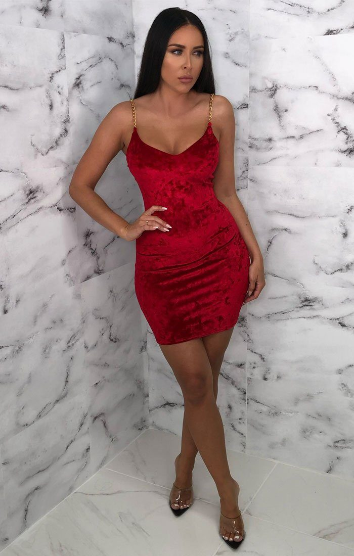 Red Velvet Bodycon Chain Strap Mini Dress - Molly
