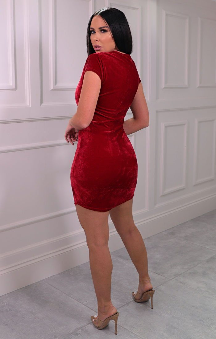 Red Velvet Short Sleeve Mini Dress - Ruby