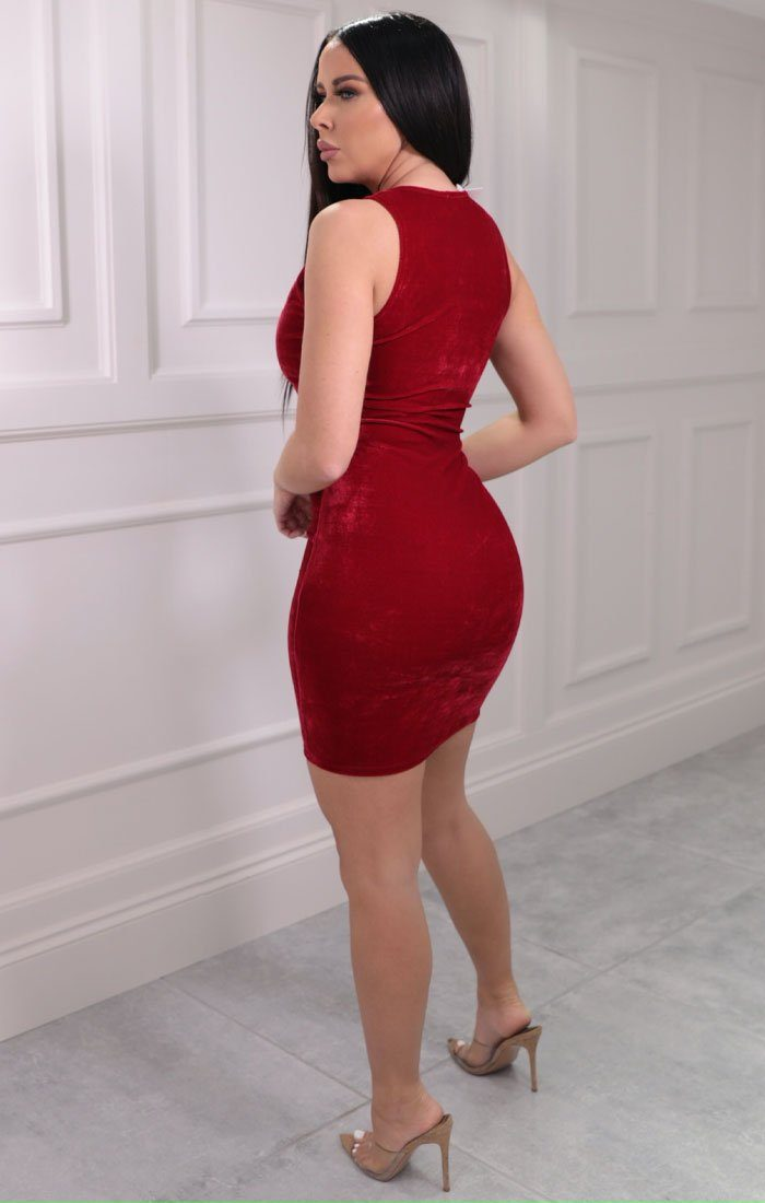 Red Velvet Sleeveless Bodycon Mini Dress - Ryan
