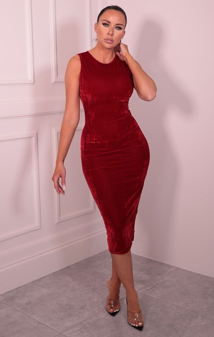 Red Velvet Sleeveless Midaxi Dress - Faith