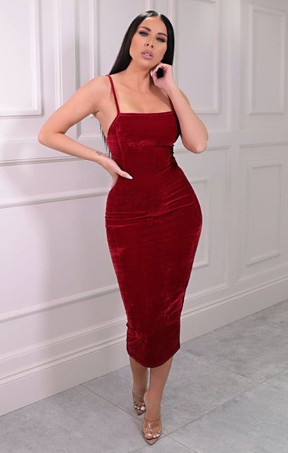 Red Velvet Strappy Square Neck Bodycon Midaxi Dress - Sara