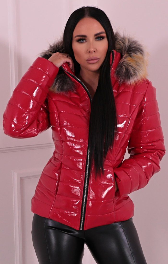 Red Vinyl Faux Fur Fitted Puffer Jacket - Mara