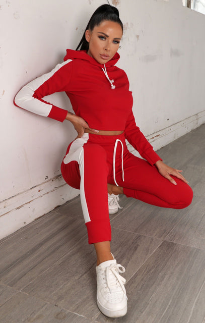 Red With White Stripe Lounge Wear Set - Lexi