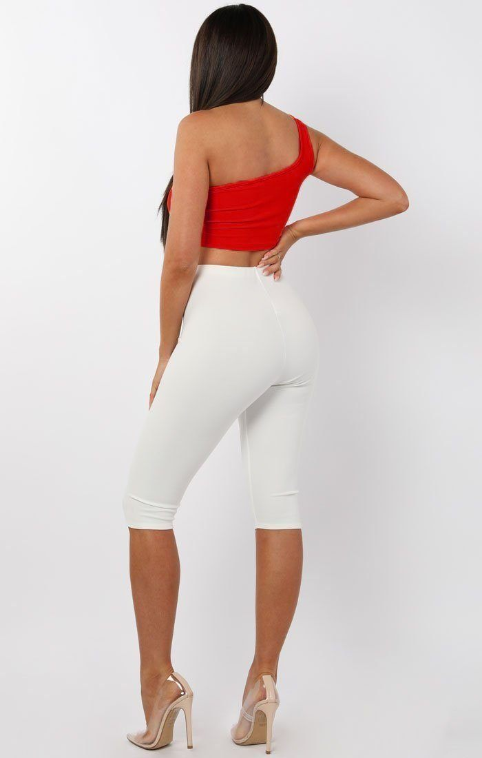 Red One Shoulder Crop Top - Keeley