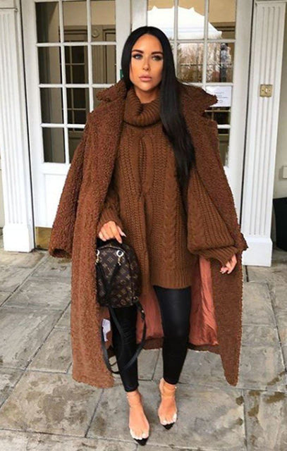 Brown Long Length Teddy Coat - Charlotte