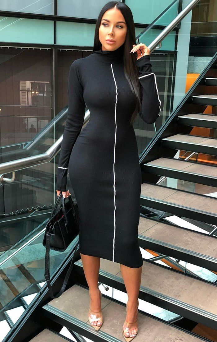 Black Ribbed High Neck Bodycon Midi Dress - Sky