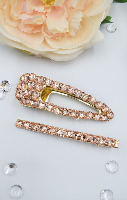 Rose Gold Diamante 2 Pack Hair Clips - Robyn