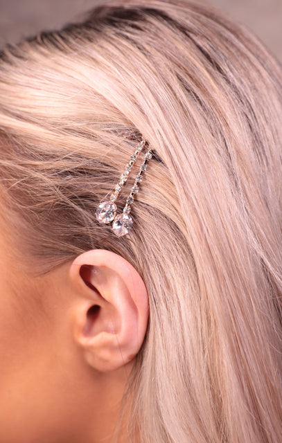Rose Gold Diamante Hair Clips - Symone