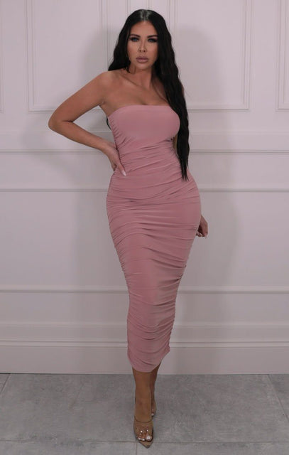 Rose Pink Slinky Ruched Side Strapless Maxi Dress - Queen