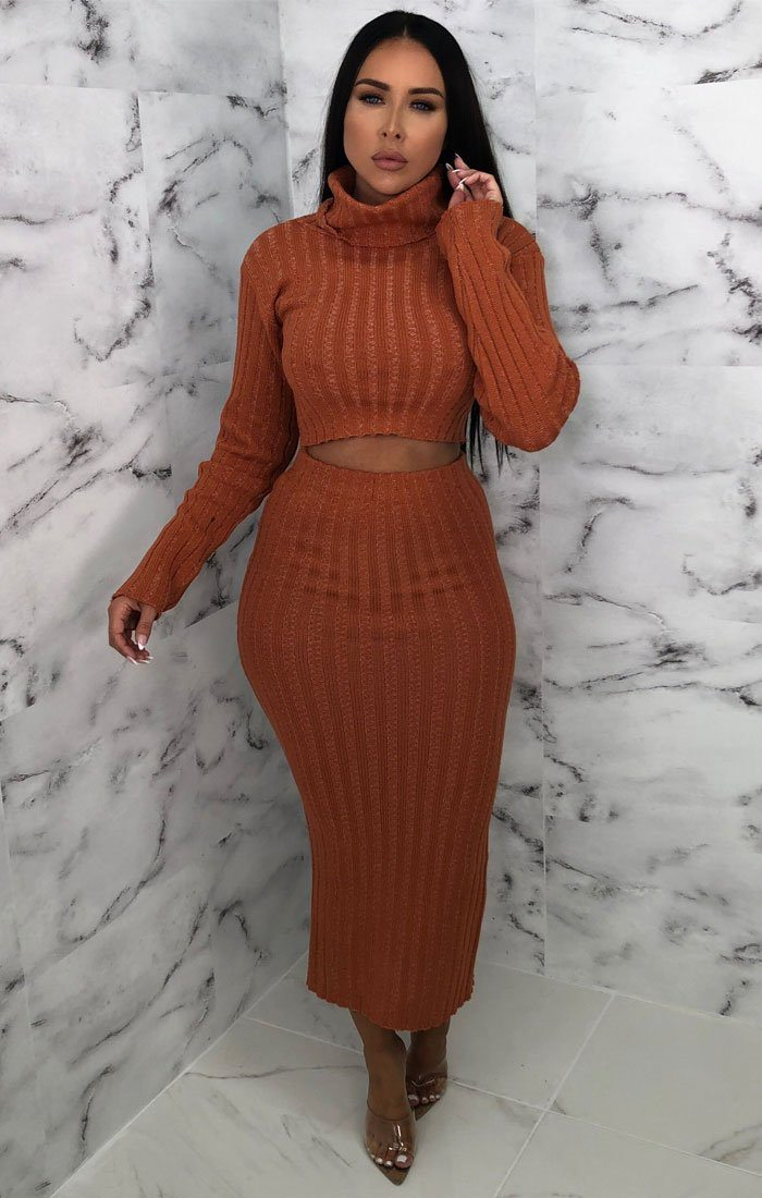 Rust Knitted Turtleneck Midi Co-ord - Coco