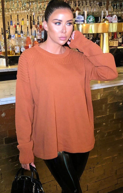 Rust Oversized Knit Jumper - Hetty