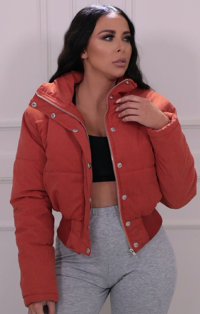 Rust Padded Oversized Cropped Puffer Jacket - Giselle