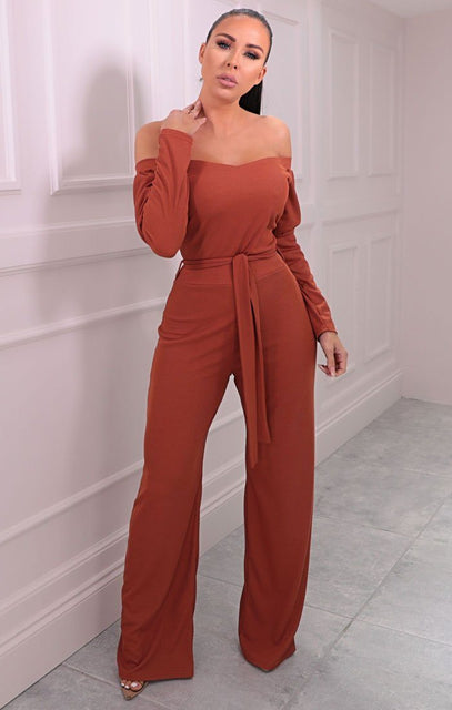 Rust Ribbed Bardot Belted Wide Leg Jumpsuit - Bell