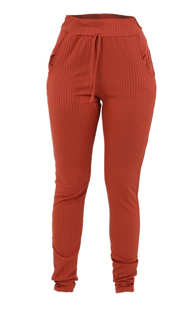 Rust Ribbed Basic Loungewear - Alani