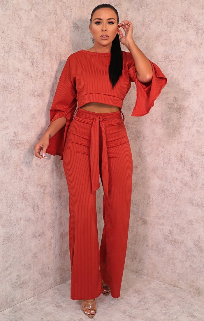 Rust Ribbed Flare Sleeve Loungewear - Neveah