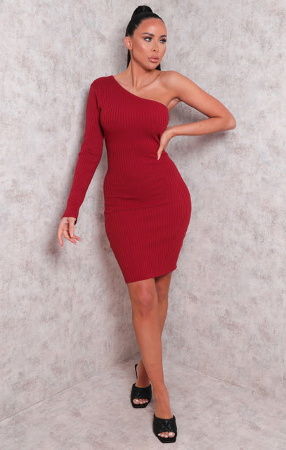Rust Ribbed One Shoulder Bodycon Mini Dress - Sabrina