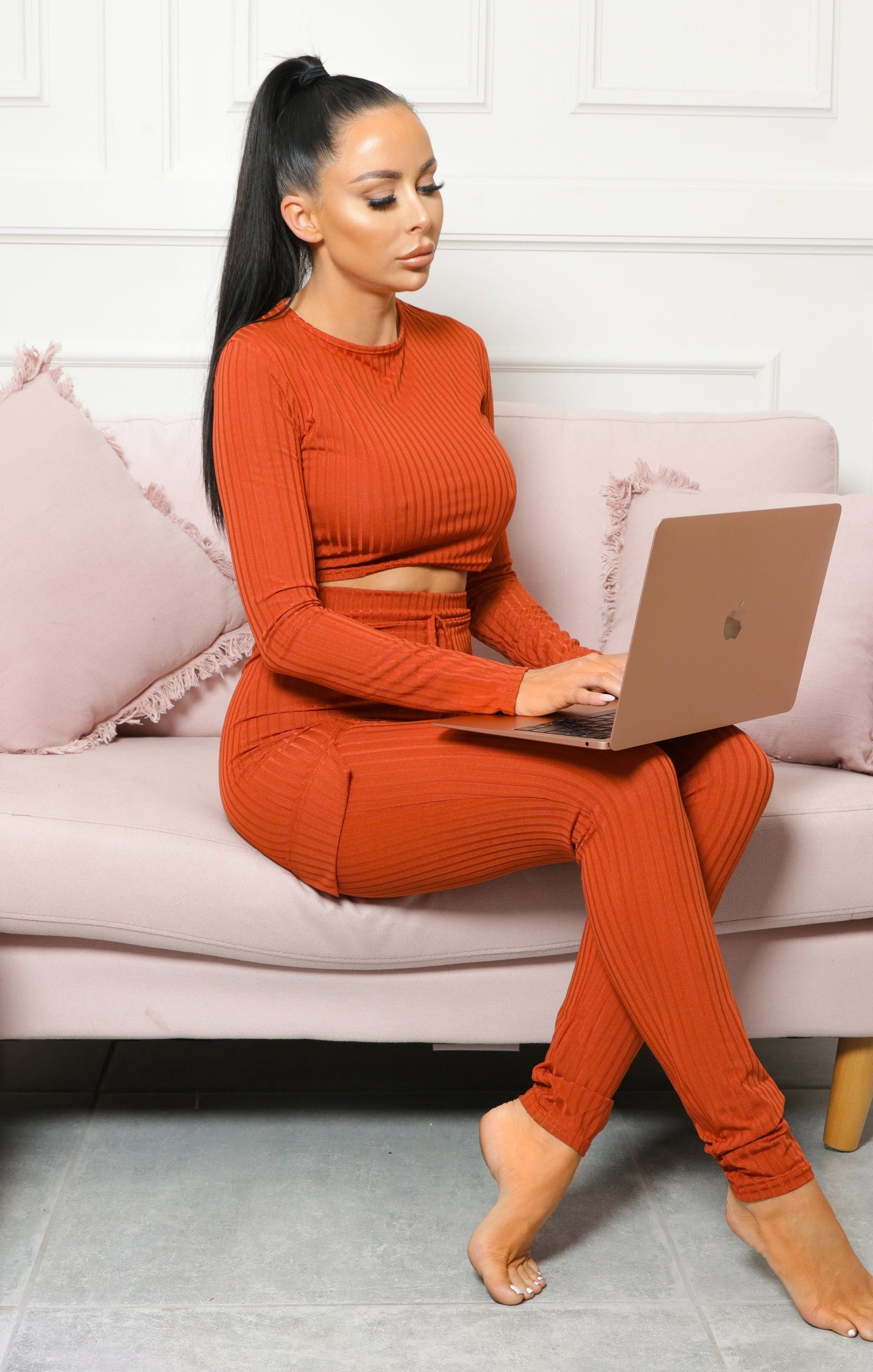 Rust Ribbed Pocket Detail Loungewear Set - Laura