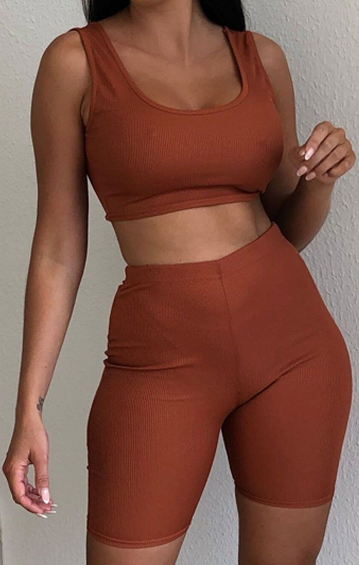 Rust Ribbed Strappy Crop Top & Cycling Shorts Co-ord - Stacie