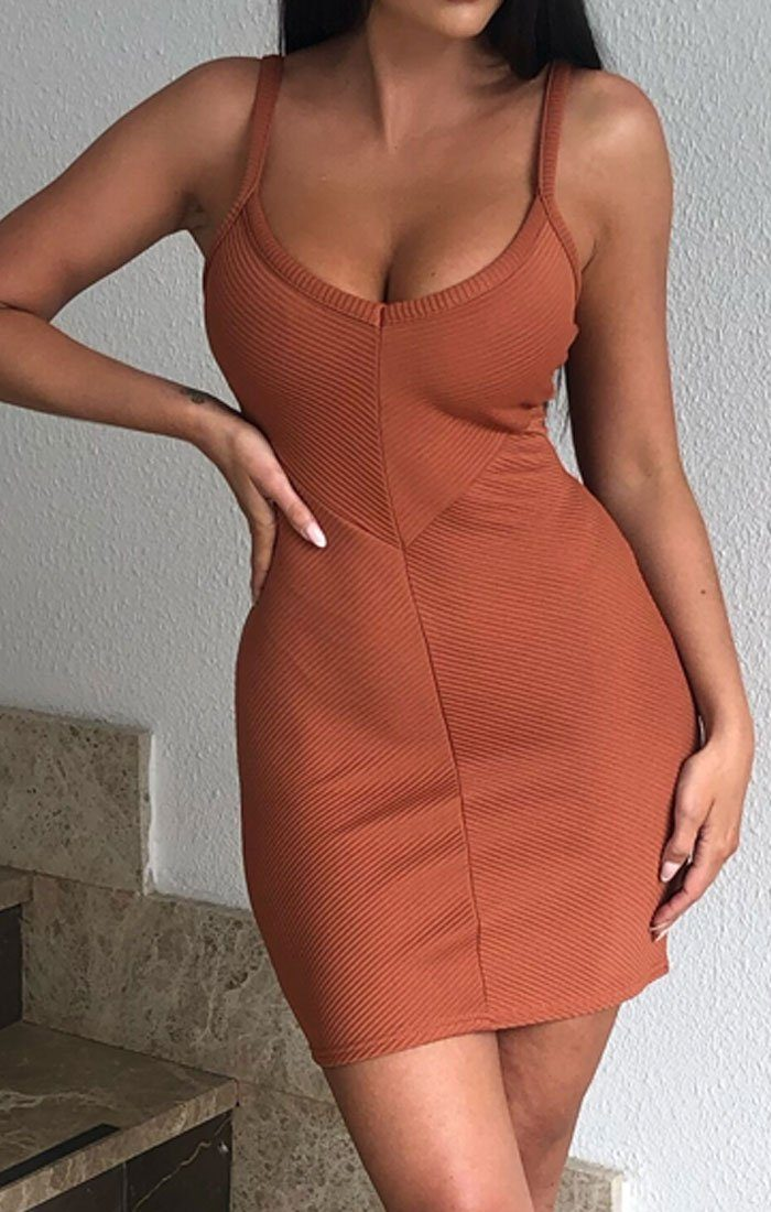 Rust Ribbed V Neck Cami Mini Dress - Markle