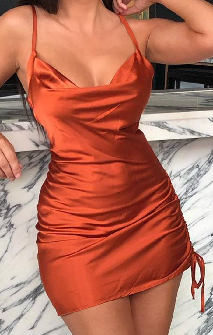 Rust Satin Ruched Side Slip Dress - Maeve