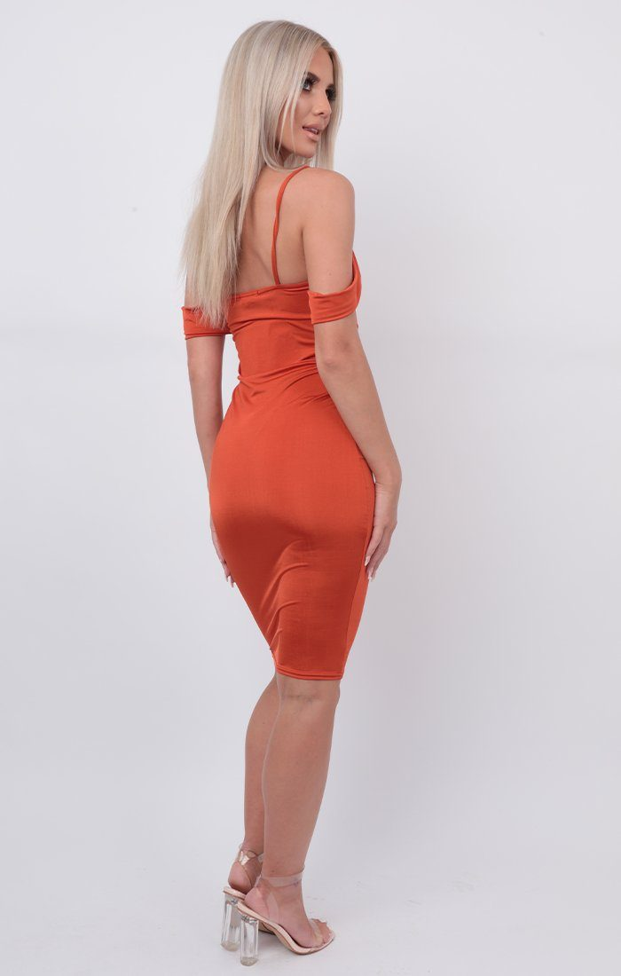 Rust Slinky Double Strap Midi Dress - Otis