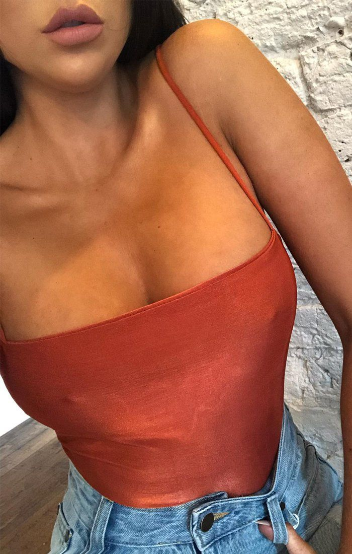 Rust Slinky Square Neck Strappy Bodysuit - Aubrey