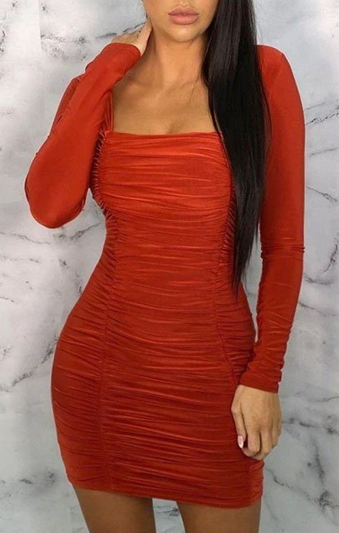 Rust Square Neck Ruched Bodycon Mini Dress - Gina